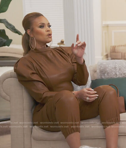 Gizelle's brown leather jumpsuit on The Real Housewives of Potomac