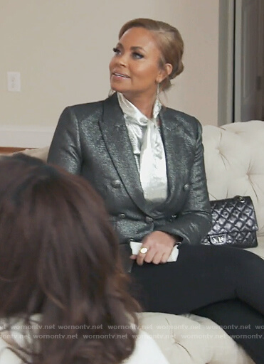 Gizelle's silver metallic blazer on The Real Housewives of Potomac