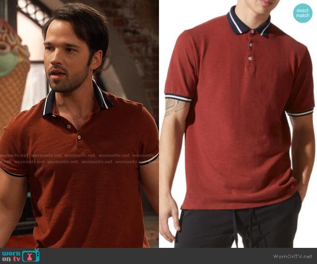 Good Man Brand Match Point Tipped Slub Short Sleeve Polo worn by Freddie Benson (Nathan Kress) on iCarly