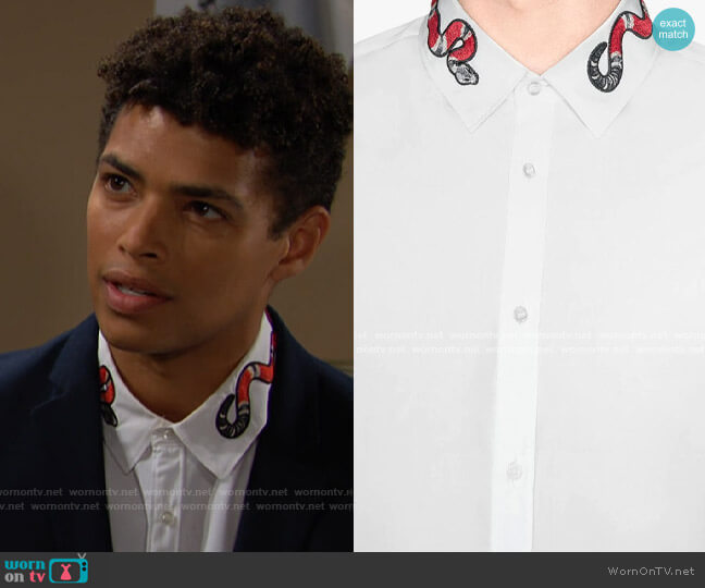 Gucci Duke Shirt with Snake worn by Zende on The Bold and the Beautiful