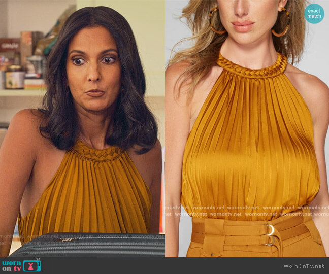 Polina Pleated Braid Bodysuit by Guess worn by Nalini Vishwakumar (Poorna Jagannathan) on Never Have I Ever