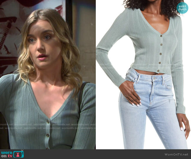 Camille Sweetheart Crop Cardigan by Guess worn by Claire Brady (Isabel Durant ) on Days of our Lives