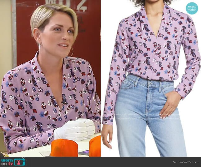 Halogen Purple Herb Floral V-neck Top worn by Jamie Yuccas  on CBS Mornings