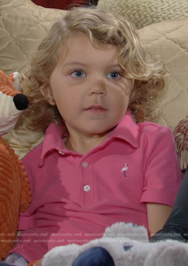 Harrison's pink flamingo polo shirt on The Young and the Restless
