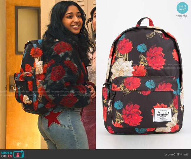 Classic Vintage Floral Backpack by Herschel worn by Devi Vishwakumar (Maitreyi Ramakrishnan) on Never Have I Ever