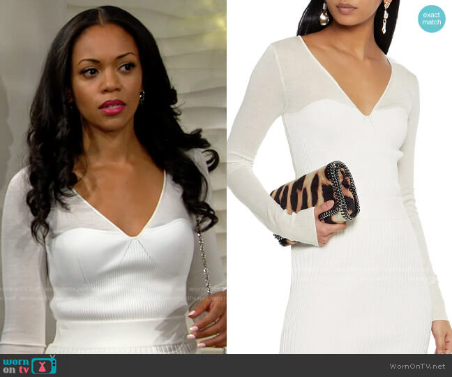 Herve Leger Paneled ribbed-knit top worn by Amanda Sinclair (Mishael Morgan) on The Young & the Restless