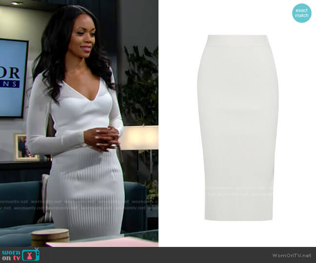 Herve Leger Ribbed-knit midi skirt worn by Amanda Sinclair (Mishael Morgan) on The Young & the Restless