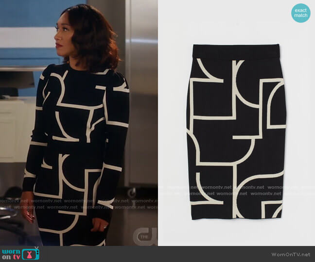 H&M Jacquard Knit Skirt worn by Iris West (Candice Patton) on The Flash