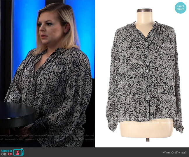 Floral Print Blouse by H&M worn by Maxie Jones (Kirsten Storms) on General Hospital