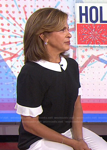 Hoda's black and white pleated sleeve top on Today
