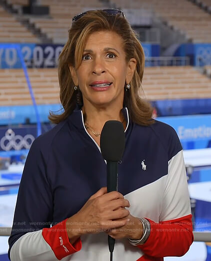 Hoda's blue, white and red colorblock pullover on Today