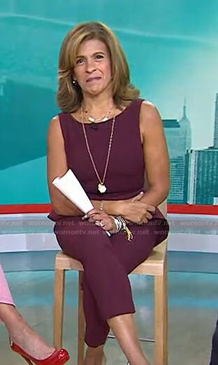Hoda's burgundy peplum top and pants on Today