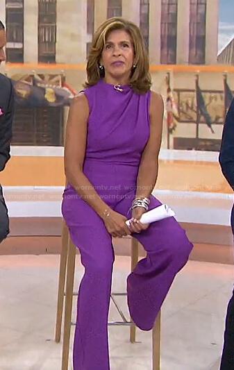 Hoda's purple sleeveless jumpsuit on Today
