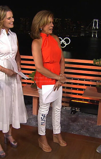 Hoda's red halter top and white USA print jeans on Today