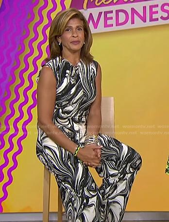 Hoda's black swirl print jumpsuit on Today