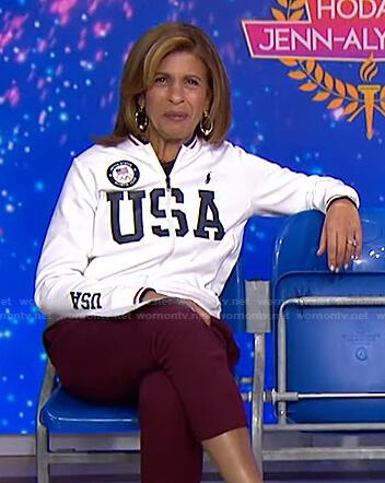 Hoda's white USA track jacket on Today