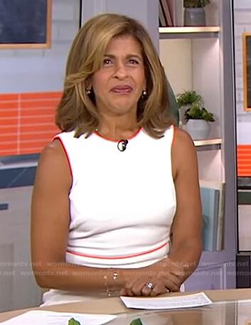 Hoda's white dress with orange contrast trim on Today