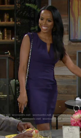 Imani's navy split neck dress on The Young and the Restless