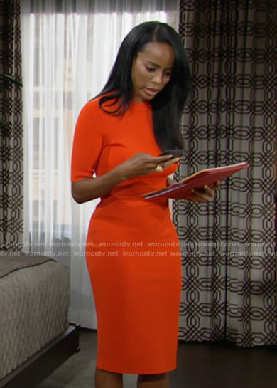 Imani's orange dress on The Young and the Restless