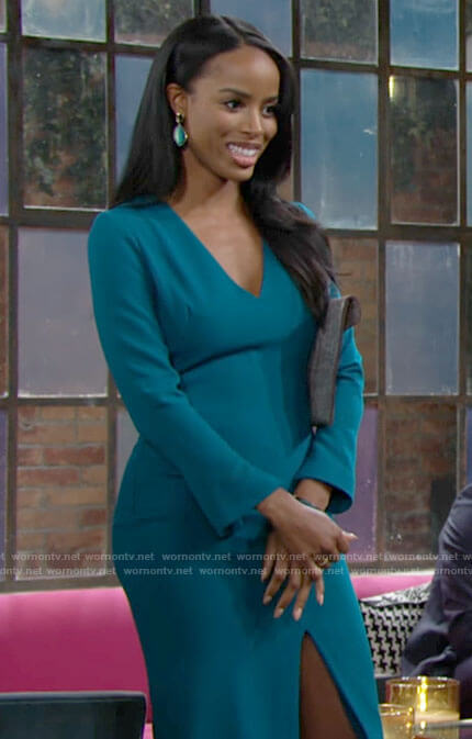 Imani's teal blue long sleeve dress on The Young and the Restless