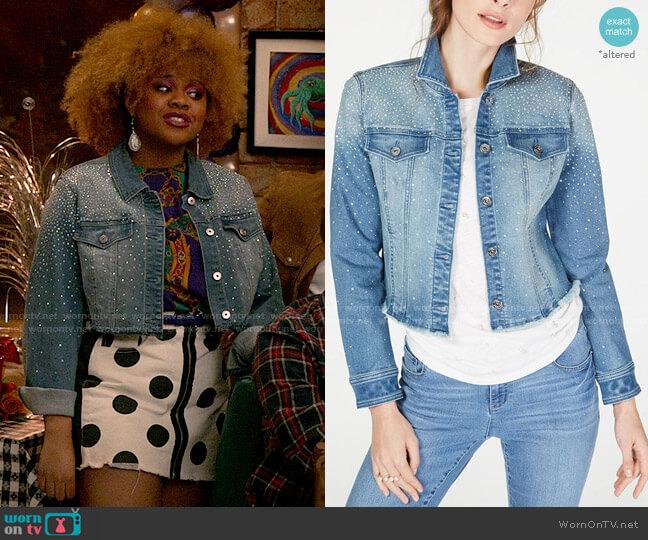 INC International Concepts Cropped Rhinestone Jean Jacket worn by Kourtney (Dara Renee) on High School Musical The Musical The Series