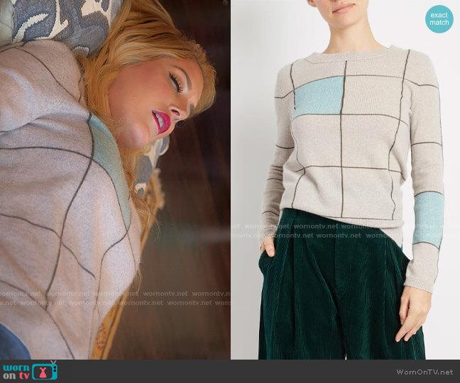 Inhabit Cashmere Checkered Crew worn by Heidi Montag  on The Hills New Beginnings