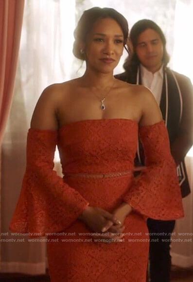 Frost's orange floral one-shoulder dress on The Flash
