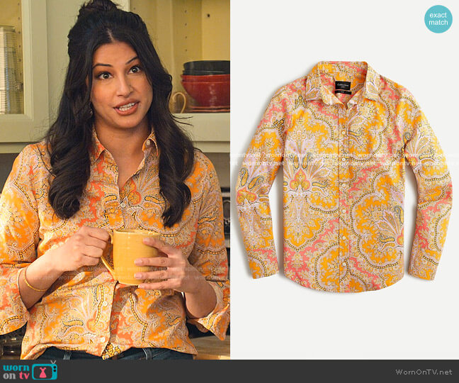 Collection Slim Perfect Shirt in Ratti paisley by J. Crew worn by Kamala (Richa Moorjani) on Never Have I Ever