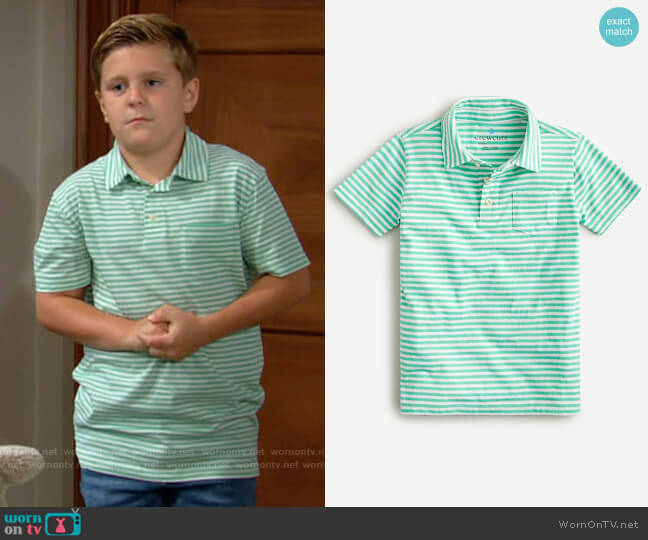 J. Crew Boys Polo Shirt in Ivory Green Stripe worn by Johnny Abbot on The Young and the Restless