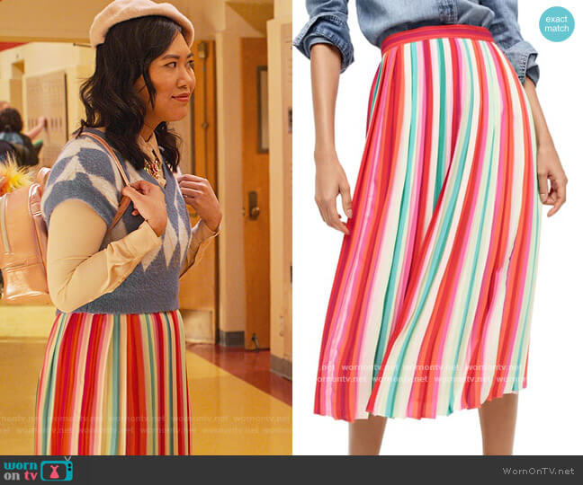 Sunburst pleated skirt in watermelon stripe by J. Crew worn by Eleanor Wong (Ramona Young) on Never Have I Ever