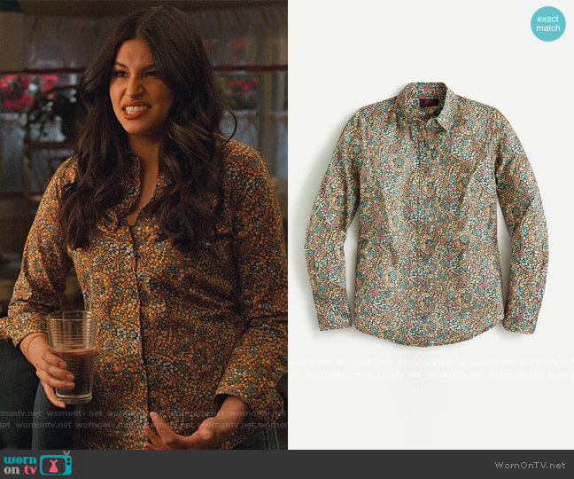 Perfect shirt in Liberty® Little Marquess print by J. Crew worn by Kamala (Richa Moorjani) on Never Have I Ever