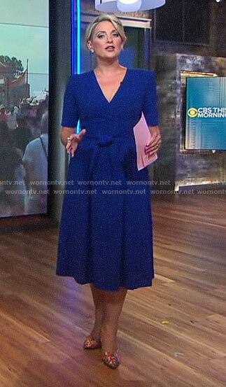 Jamie Yuccas's blue wrap dress on CBS This Morning