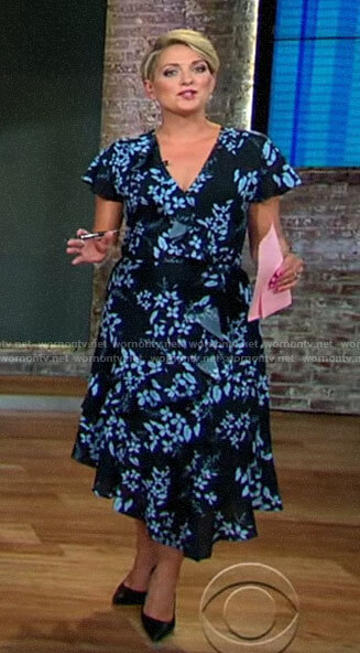 Jamie Yuccas's floral midi wrap dress on CBS This Morning