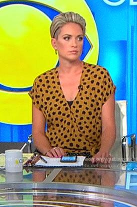 Jamie Yuccas's yellow animal print wrap top on CBS This Morning