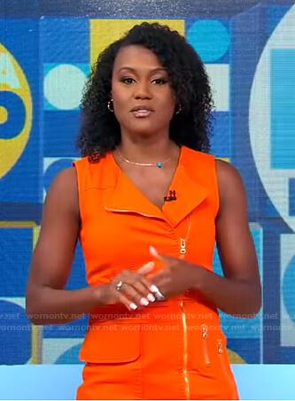 Janai's orange zip front dress on Good Morning America