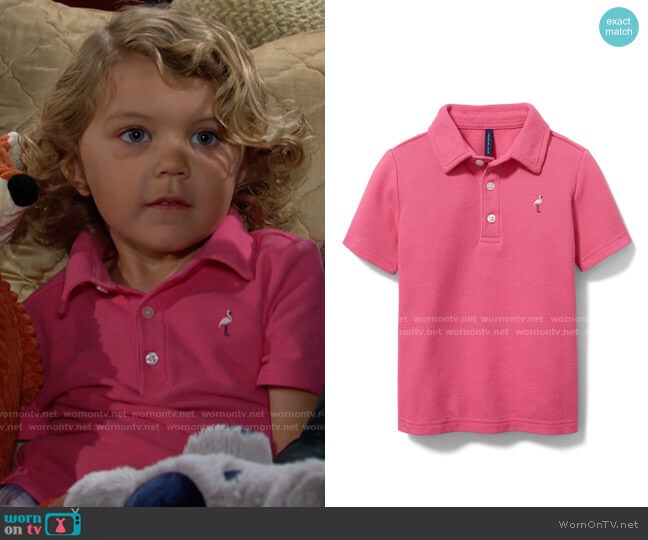 Janie and Jack Embroidered Pique Polo worn by Harrison Locke on The Young and the Restless
