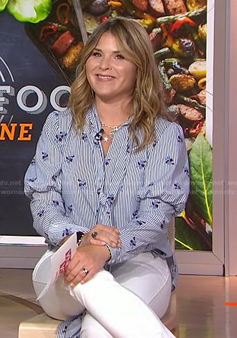 Jenna's blue floral striped blouse on Today
