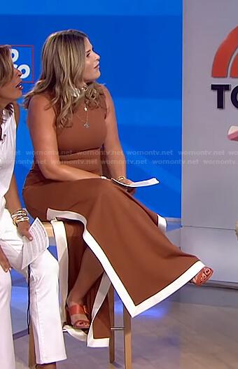 Jenna's brown sleeveless slit dress on Today