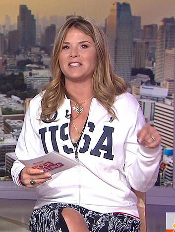 Jenna's white USA track jacket on Today