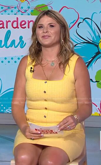 Jenna's yellow sleeveless tweed mini dress on Today