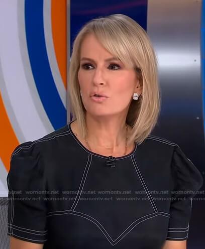 Jennifer's black dress with white stitching on Good Morning America