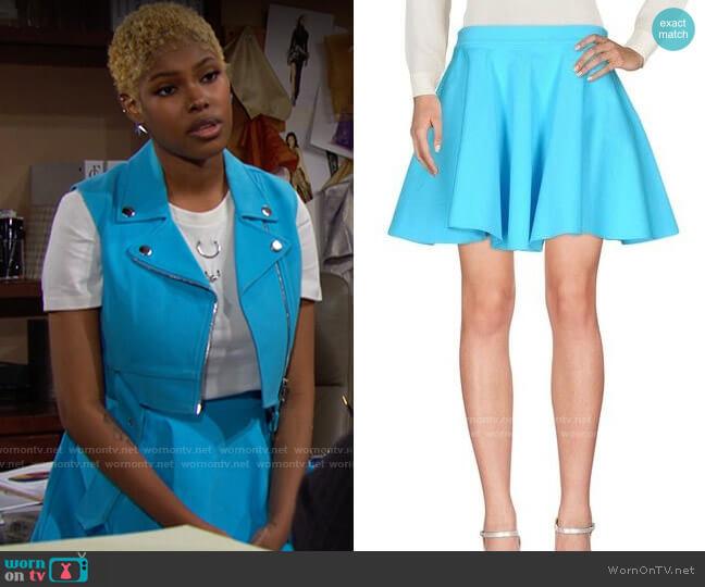 Jeremy Scott Flared Skirt worn by Paris Buckingham (Diamond White) on The Bold & the Beautiful
