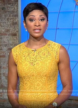 Jericka Duncan's yellow lace dress on CBS This Morning