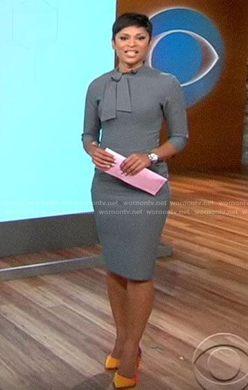 Jericka Duncan's grey tie neck dress on CBS This Morning