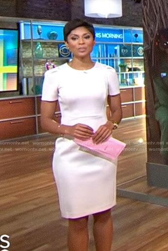 Jericka Duncan's light pink short sleeve dress on CBS This Morning