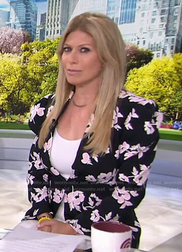 Jill's black floral blazer and white pants on Today