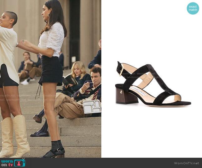 Jin 45mm sandals by Jimmy Choo worn by Luna La (Zión Moreno) on Gossip Girl