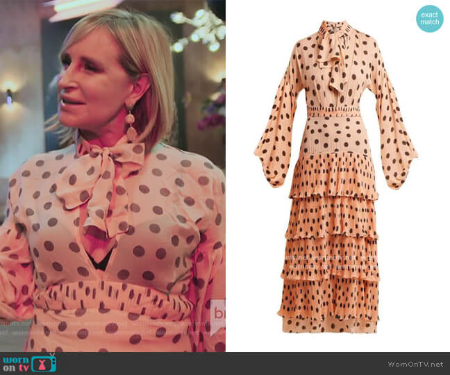 Pink Polka Dot Dress by Johanna Ortiz worn by Sonja Morgan  on The Real Housewives of New York City