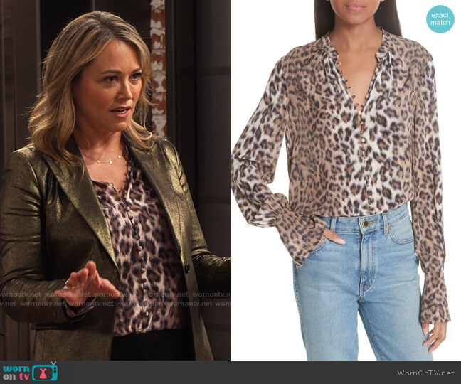 Joie Tariana Leopard Print Silk Blouse worn by Argentina (Christine Taylor) on iCarly