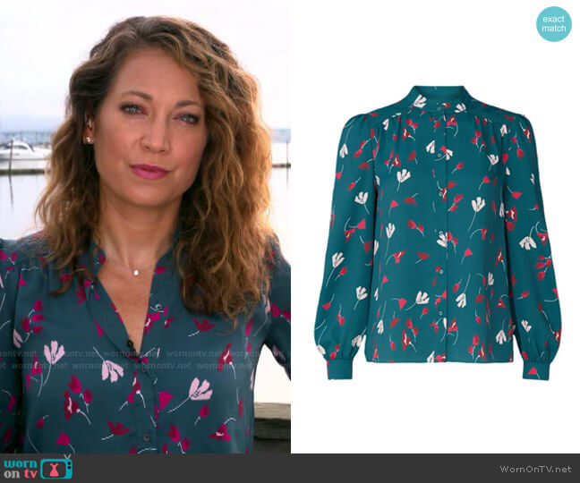 Myella Top by Joie worn by Ginger Zee  on Good Morning America